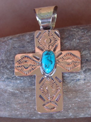 Native American Copper & Turquoise Cross Pendant Bobby Cleveland