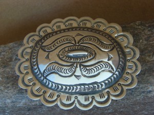 Navajo Indian Jewelry Sterling Silver Hand Stamped Belt Buckle Carson Blackgoat