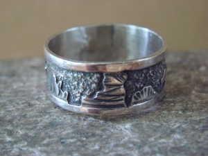 Native American Jewelry Sterling Silver Storyteller Ring - Size 11  by E. Becenti LC0149