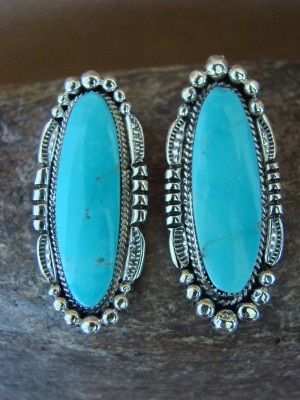 Native American Sterling Silver Turquoise Post Earrings by Raymond Yazzie