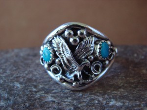 Navajo Indian Sterling Silver Turquoise Handmade Eagle Ring by Yazzie! Size 12 1/2