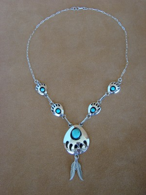 Navajo Indian Sterling Silver Turquoise Bear Paw Necklace Leta Parker