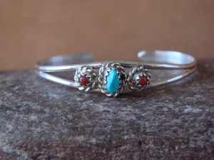 Small Navajo Indian Sterling Silver Turquoise Coral Child's Bracelet by Cadman!