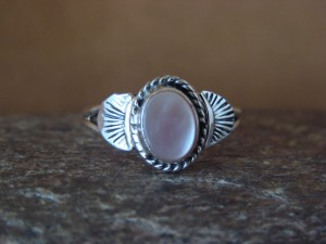 Native American Indian Jewelry Sterling Silver Pink Shell Ring, Size 7  Mariano