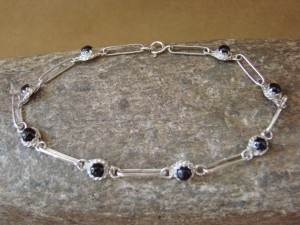Zuni Indian Jewelry Onyx Sterling Silver Link Bracelet! Rosie Laweka