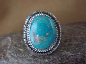 Native American Jewelry Sterling Silver Turquoise Ring, Size 9 Delgarito