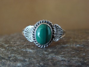 Native American Indian Jewelry Sterling Silver Malachite Ring, Size 9  Mariano