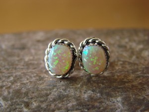 Zuni Indian Sterling Silver Oval Opal Post Earrings by Leander Cachini