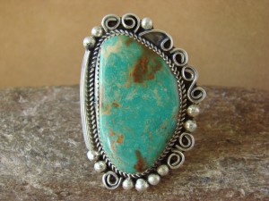 Native American Sterling Silver Turquoise Ring Size 9 1/2, by Leslie Nez