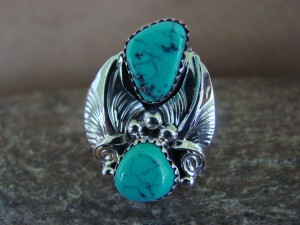 Native American Jewelry Sterling Silver Turquoise Ring, Size 7 1/2 Rita Montoya