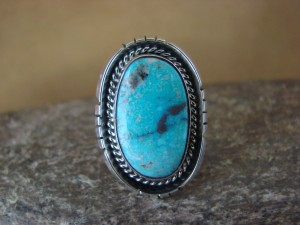 Native American Jewelry Sterling Silver Turquoise Ring, Size 7 Yellowhair
