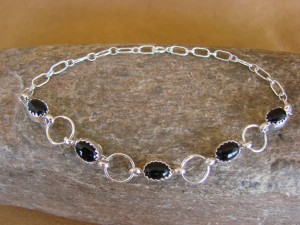 Native American Jewelry Sterling Silver Onyx Link Bracelet!