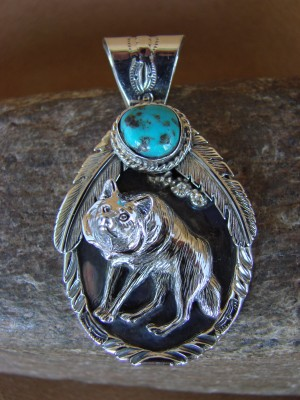 Native American Jewelry Sterling Silver Wolf Turquoise Pendant By Henry Attakai