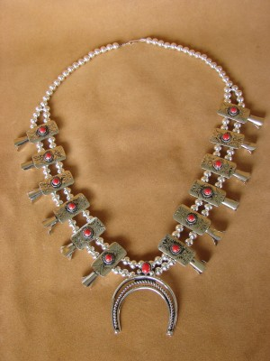 Native American Jewelry Coral Squash Blossom Necklace by Phoebe Tolta