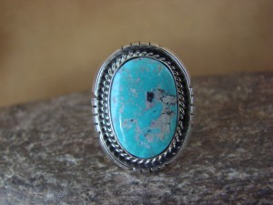 Native American Jewelry Sterling Silver Turquoise Ring, Size 6 Yellowhair