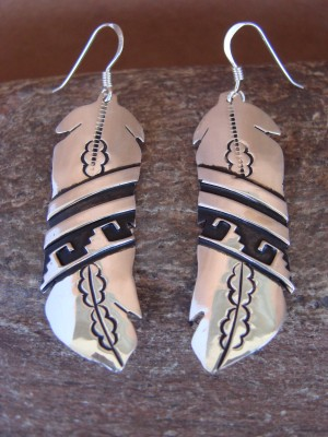 Navajo Indian Sterling Silver Feather Dangle Earrings by T&R Singer!
