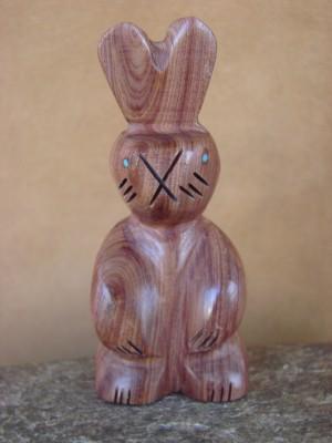 Zuni Indian Hand Carved Cedar Rabbit Fetish by Brandon Phillips!