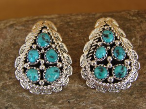 Native American Turquoise Cluster Post Earrings! Navajo Indian Jewelry