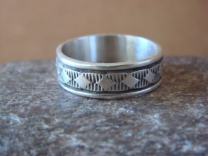 Native American Jewelry Sterling Silver Ring Band by Bruce Morgan! Size 10 1/2
