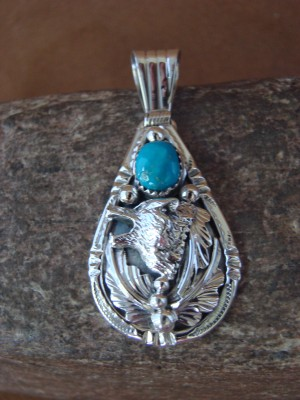 Native American Jewelry Sterling Silver Wolf Turquoise Pendant by Attakai