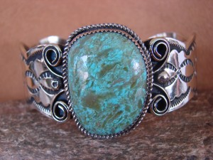 Native American Jewelry Nickel Silver Turquoise Bracelet by Jackie Cleveland!