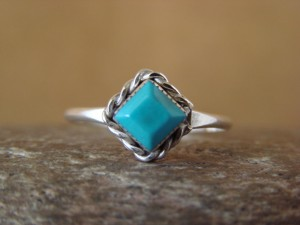 Navajo Indian Native American Jewelry Sterling Silver Turquoise Ring Size 6 1/2