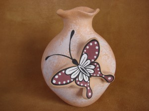 Native American Handmade Clay Butterfly Pot by Tony Lorenzo! Zuni Pueblo