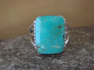 Native American Jewelry Sterling Silver Turquoise Ring, Size 12 Sharron Smith