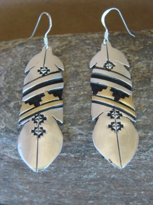 Navajo Indian Sterling Silver Feather Gold Fill Desert Mesa Dangle Earrings by T&R Singer!