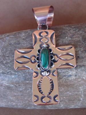 Native American Copper & Malachite Cross Pendant Bobby Cleveland