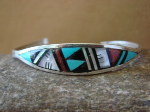 Zuni Indian Sterling Silver Turquoise, Coral, & Pearl Inlay Bracelet! II0180