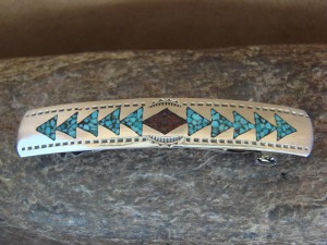 Navajo Indian Sterling Silver Turquoise Chip Inlay Hair Barrette! By Yazzie