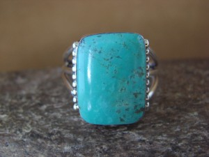 Native American Jewelry Sterling Silver Turquoise Ring, Size 11 1/2 Sharron Smith