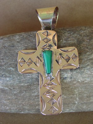 Native American Copper & Malachite Cross Pendant Bobby Cleveland