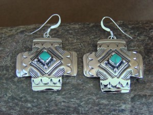 Navajo Indian Jewelry Sterling Silver Hand Stamped Kingman Turquoise Cross Earrings! by Curley