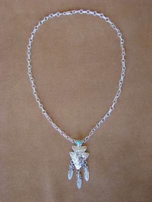 Native American Jewelry Turquoise Sterling Silver Feather Link Necklace by Roberta Begay