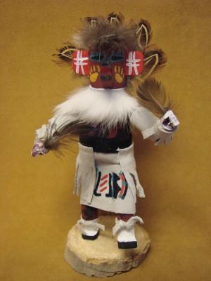 Native American Navajo Indian Handmade Brown Bear Kachina Dancer
