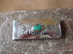 Navajo Indian Jewelry Turquoise Hand Stamped Money Clip! Sterling Silver