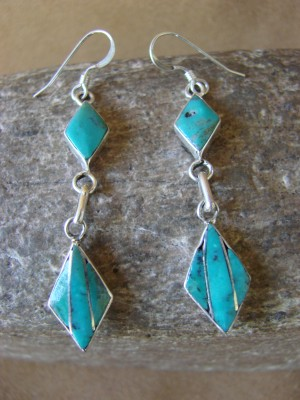 Zuni Indian Jewelry Sterling Silver Inlay Earrings Jonathan Shack - LL0163