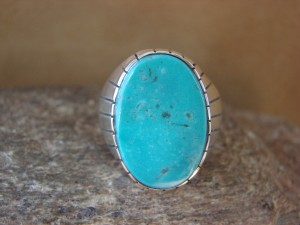 Native American Jewelry Sterling Silver Turquoise Inlay Men's Ring! Size 11 RJ
