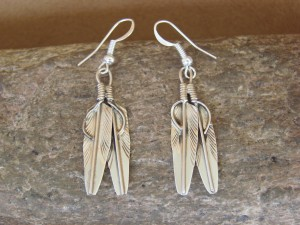 Native American Navajo Indian Jewelry Sterling Silver Double Feather Earrings - A. Tom
