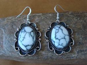 Native American Nickel Silver Howlite Dangle Earrings by Jackie Cleveland 7-003