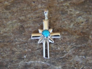 Native American Navajo Jewelry Sterling Silver Turquoise Cross Pendant by Michael Bitsie