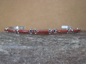 Zuni Indian Jewelry Sterling Silver Coral Row Bracelet! Wyaco