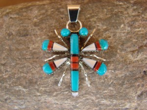Zuni Indian Sterling Silver Turquoise & Coral Dragonfly Pendant ! Wayne Haloo