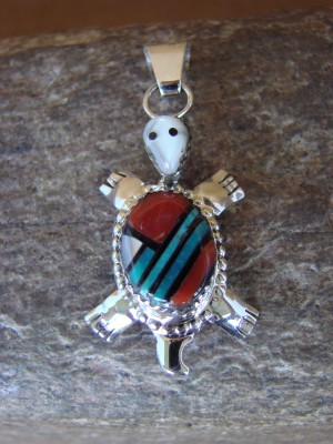 Zuni Indian Sterling Silver Turquoise & Coral Turtle Pendant! Wayne Haloo