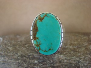 Native American Jewelry Sterling Silver Turquoise Men's Ring! Size 10 1/2 RJ