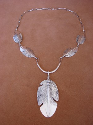 Native American Jewelry Sterling Silver Feather Link Necklace by Ben Begay