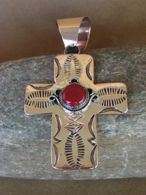 Native American Copper & Red Jasper Cross Pendant Bobby Cleveland