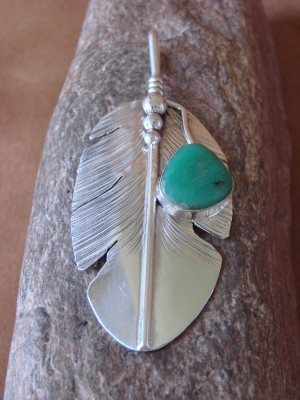 Navajo Indian Jewelry Sterling Silver Turquoise Feather Pendant! Ben Begay X0229